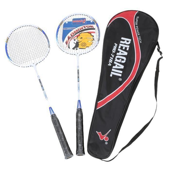 Lixada 1 paire Raquette de Badminton de Formation avec Sac Equipement de Sport Durable Léger en Alliage d'Aluminium