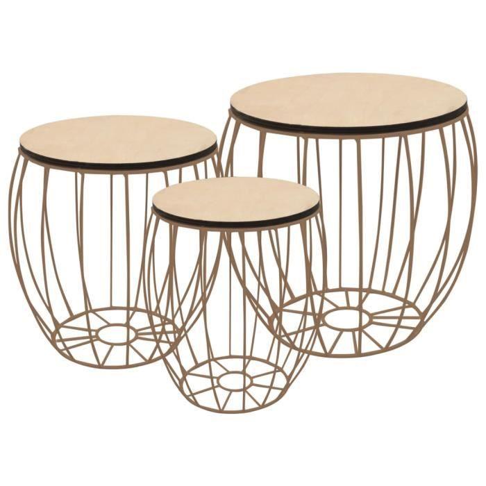 {Style Scandinave Moderne} Lot de 3 Table basse style Scandinave - Bout de canapé Contreplaqué de peuplier Fer ©37305