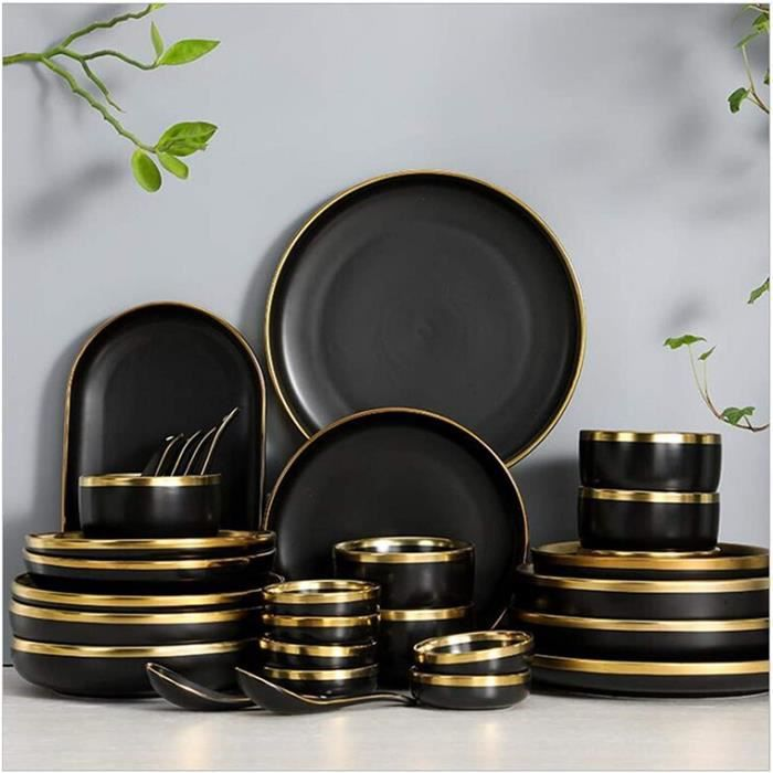 Assiette de diner RIM Doré Porcelaine Noire Plaque de dîner Ensemble Plaque de cuisine Céramique Vaisselle Vaisselle Plats De Riz No