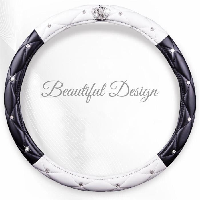 Couvre volant,Mode femmes PU cuir voiture volant couvre diamant noir rose Auto volants housses pour dame filles - Type black white