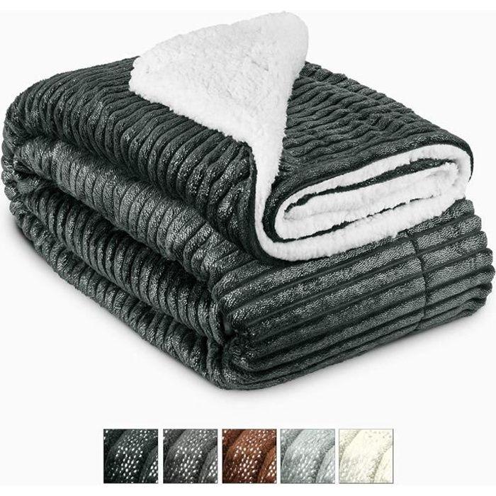 Beautissu Couvre lit Elisa Couverture polaire avec impressions scintillantes 220x240cm – Plaid doux Couverture chaude - Noir