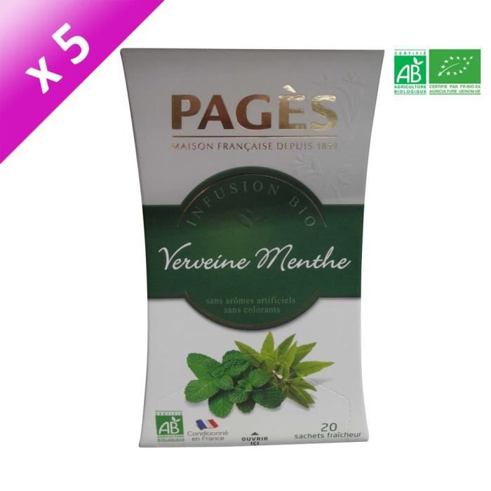 PAGES Lot de 5 Infusions Verveine Menthe Bio