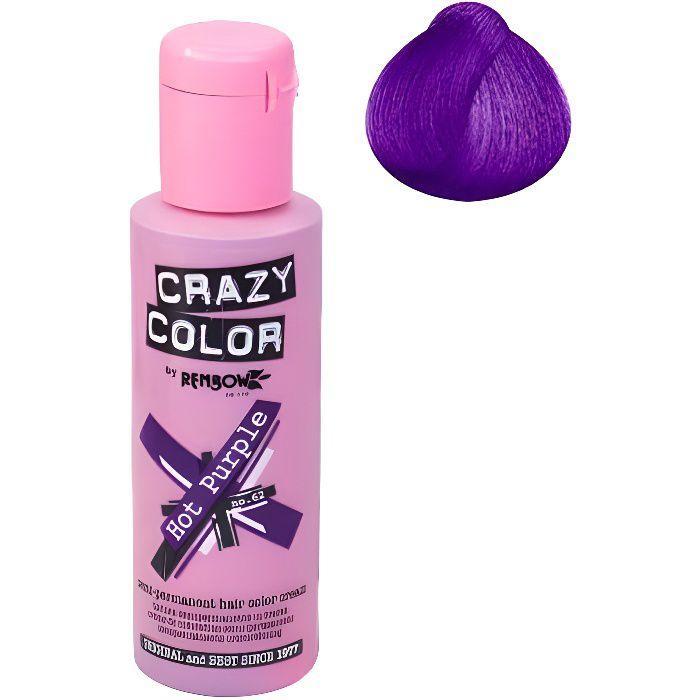 Coloration cheveux semi-permanente CRAZY COLORHOT PURPLE = Pourpre profondPour un look FUN et des cheveux aux couleurs vives et