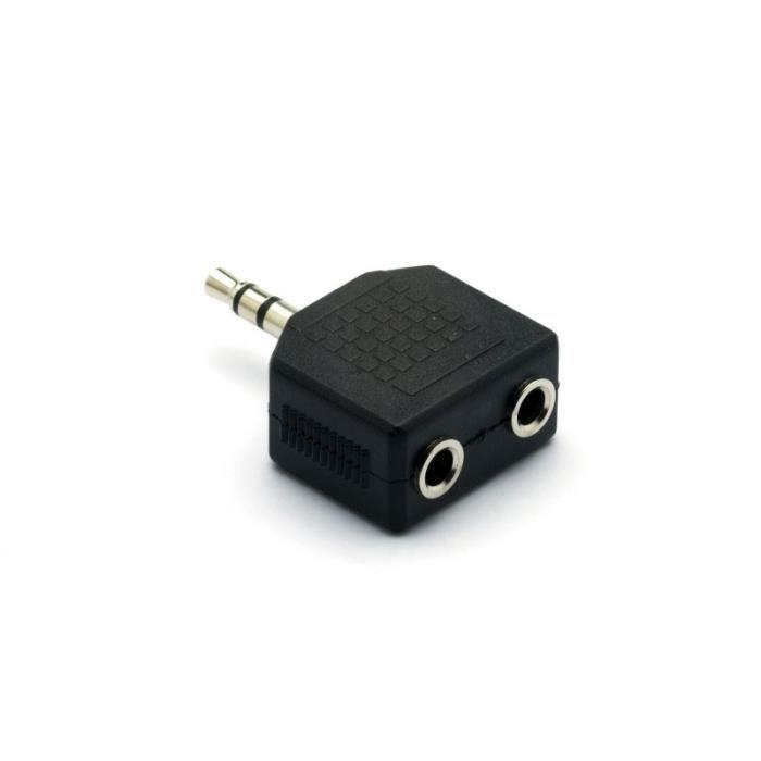 Adaptateur audio doubleur de casque mini-jack 3,5 mm stéréo mâle / 2 x mini-jack 3,5 mm stéréo femelle G&BL - 225 Noir