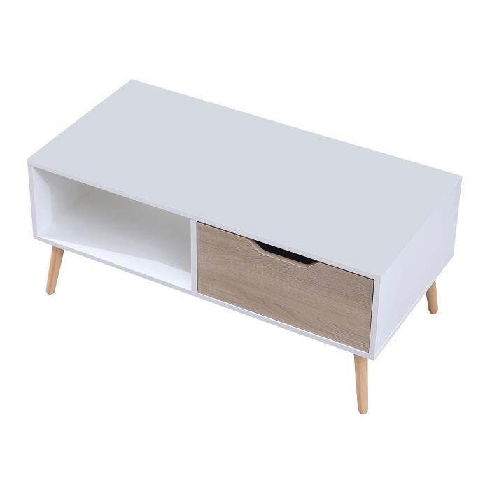 Table basse avec tiroir style scandinave blanche FREJA Blanc