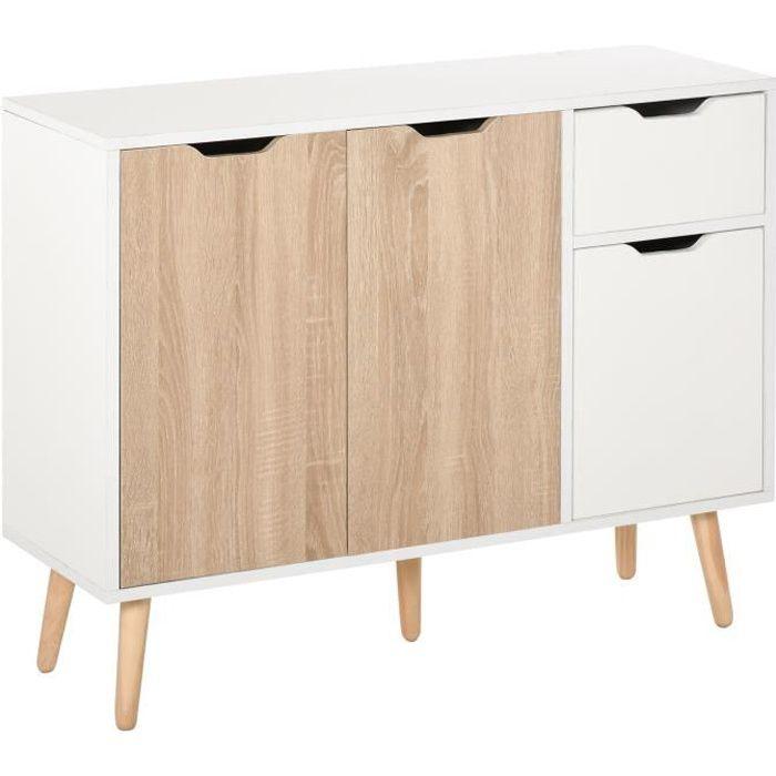 Buffet design scandinave 2 placards tiroir coulissant pieds bois massif pin panneaux particules blanc chêne clair 90x30x72cm Blanc