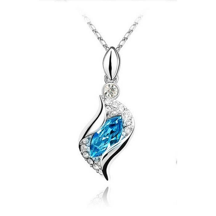 LCC®Collier et pendentif vague de cristal plaqué or blanc 18k et cristaux Swarovski Elements - Les yeux de l'amour-Livraison rapide