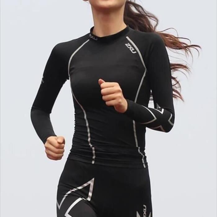 Compression serré T - Shirt femme à manches longues femmes chemise résistant aux UV noir mèche ski courir Gym Sports stade