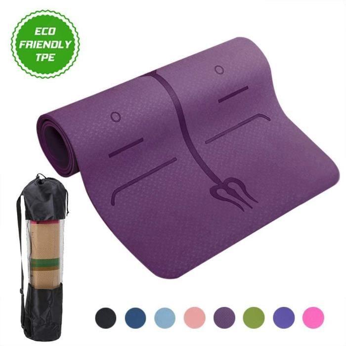Tapis de Yoga,avec Lignes d'alignement du Corps,en TPE Matériaux, Antidérapant et Durable - violet- Y55