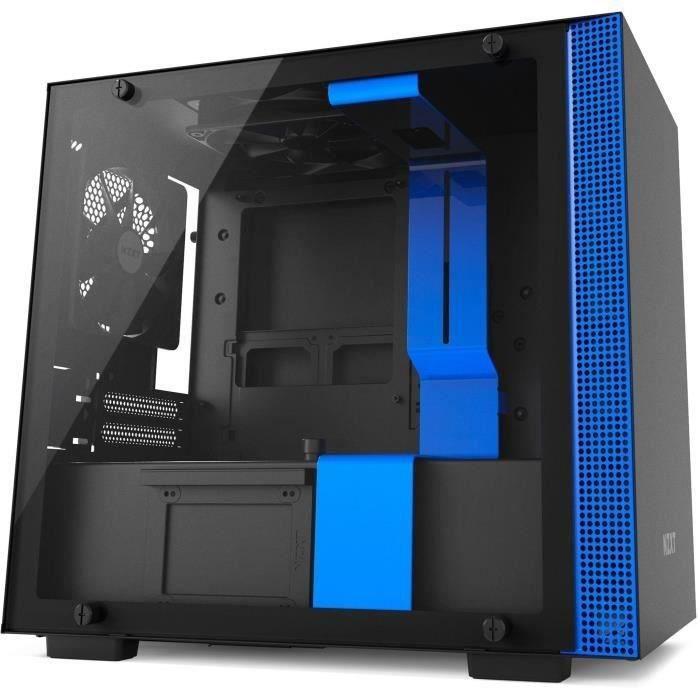 NZXT Boîtier PC H200 - Mini-ITX - Panneau en verre trempé - Noir et bleu
