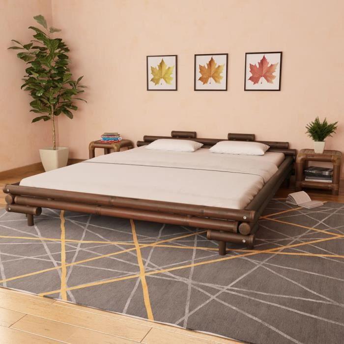Cadre de lit Marron foncé Bambou 180 x 200 cm