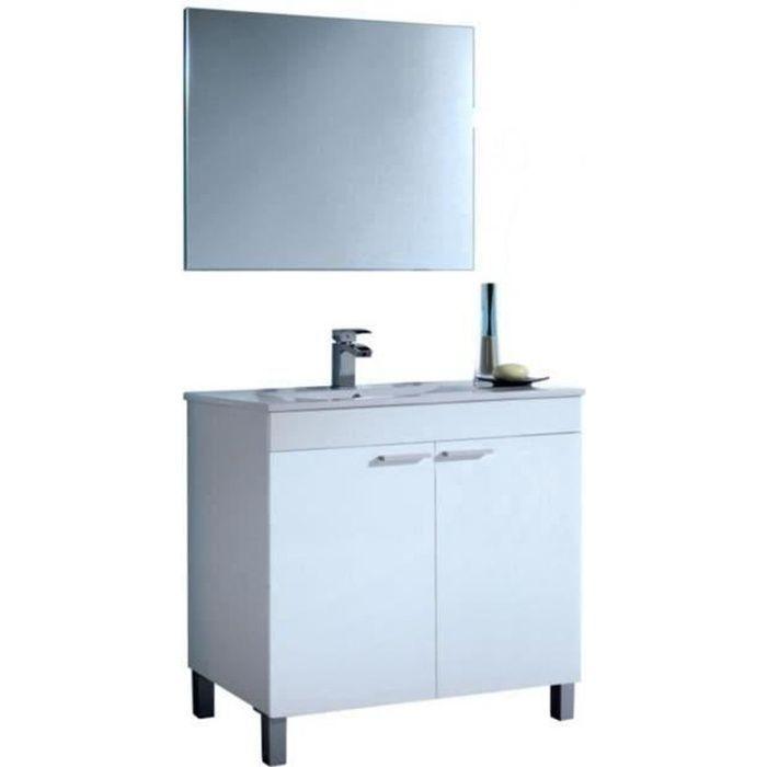 Meuble Sous-Vasque avec 2 Portes + Miroir coloris blanc brillant - 80 x 80 x 45 cm