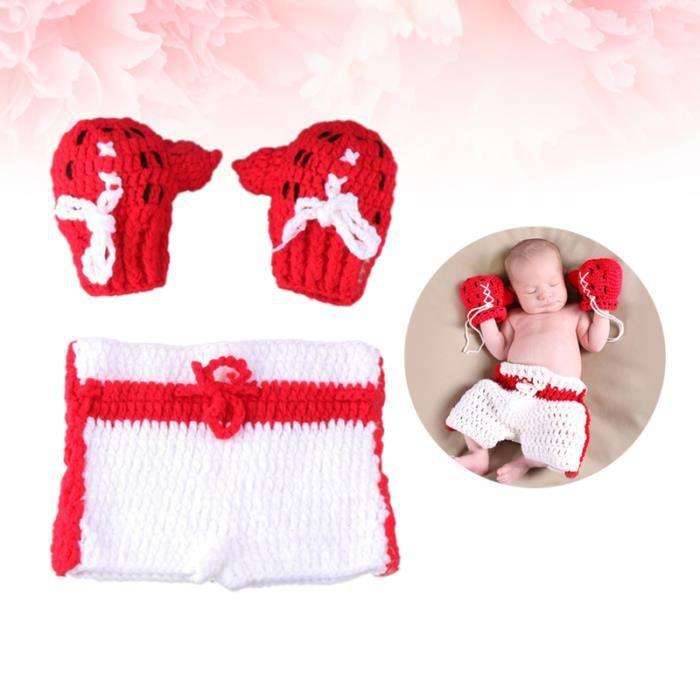 Crochet nouveau-né Photographie Props Garçons Boxe Outfit Set Bébé Accessoires Photo BANDEAU - SERRE-TETE - HEADBAND - HAIRBAND