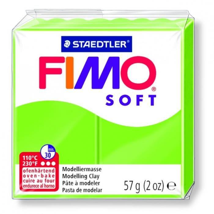 Pâte Fimo soft couleur Vert Pomme n°50, Pain polymère de 57g à cuire au four - Unique