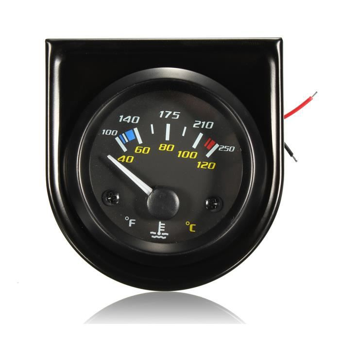 52mm 12V Voiture Universal Eau Temperature Gauge Tableau Jauge 100-250℉,40-120℃