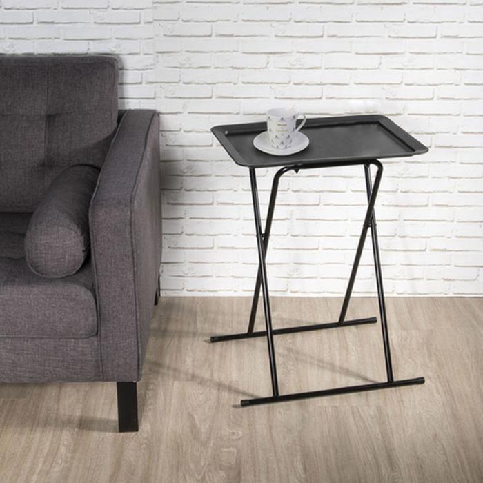 Table d'appoint pliable design Zoé - L. 53 x H. 66 cm - Noir