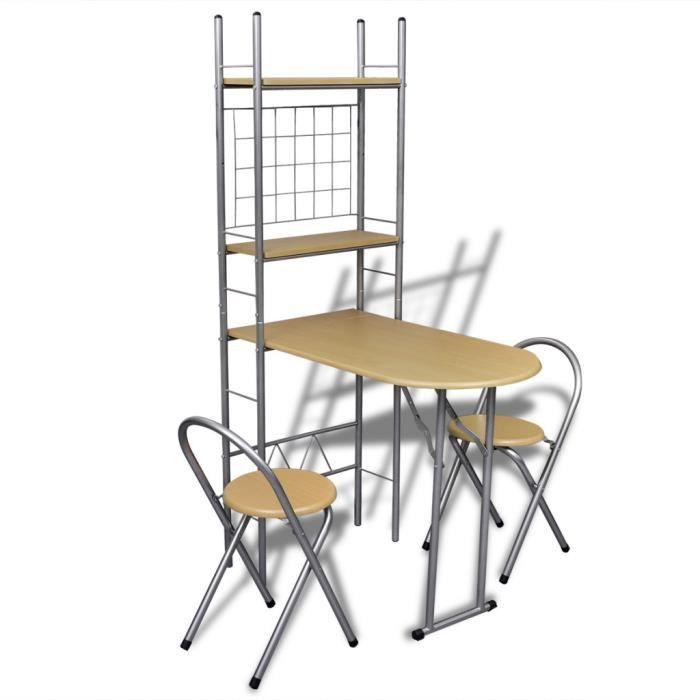 Set Table cuisine avec 2 chaises Pliable Petit déjeuner Bar