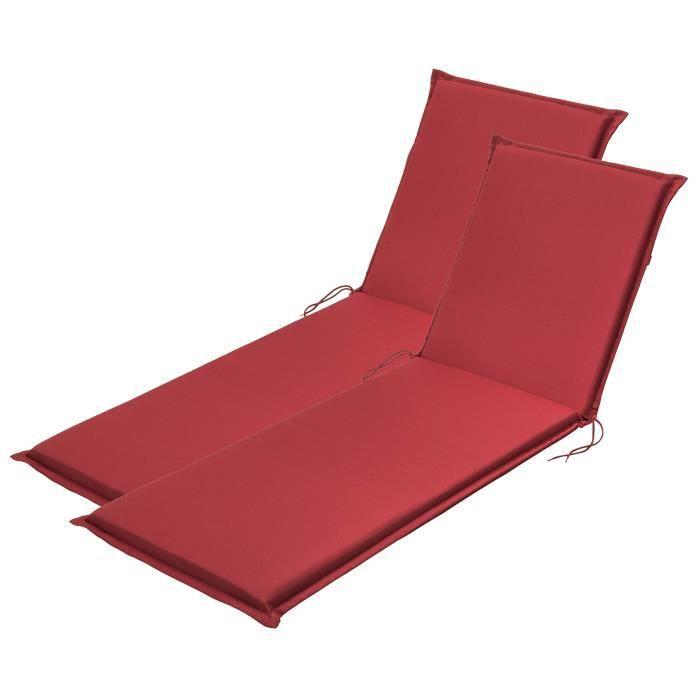 Traumnacht Confort Coussin pour fauteuil à dossier haut, Lot de 2, Outdoor, Rouge, 190 x 58 x 6 cm