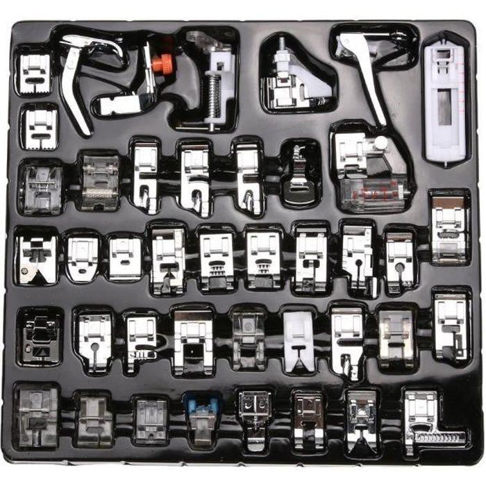 Machine à coudre biche kit Ourlet Pied de pièces accessoires pour Brother Singer Lot de 42 pcs