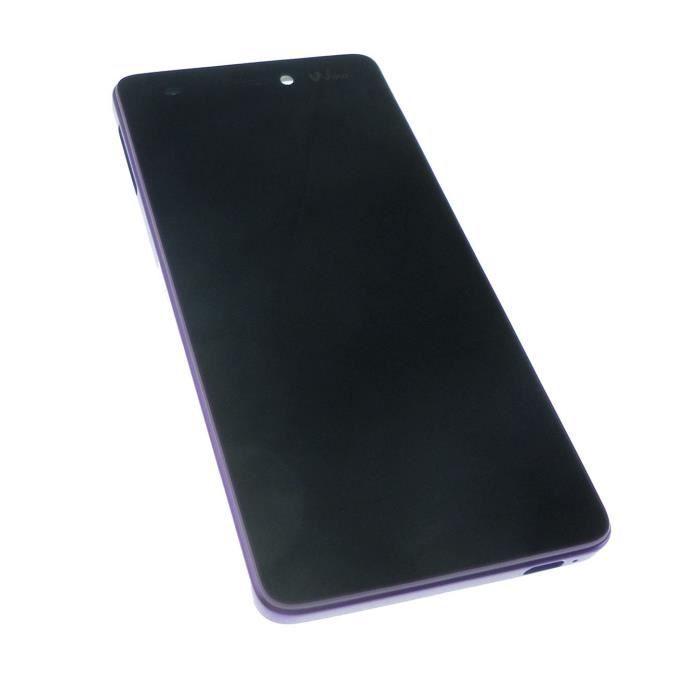 Ecran vitre tactile et LCD avec châssis violet pour Wiko Highway SIGNS