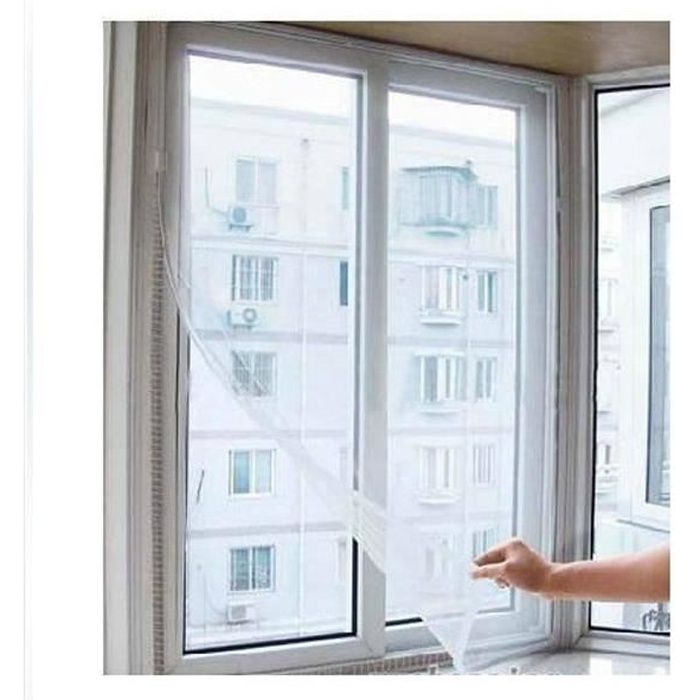 Blanc Lot de 2 Moustiquaires pour fen/être 100x100cm Dimensions ajustable et fixations