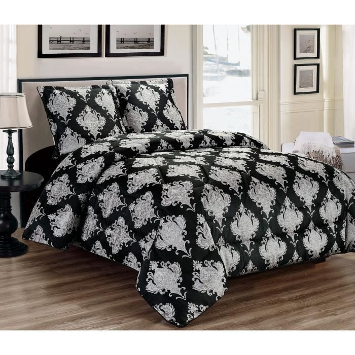 couvre lit noir et blanc achat vente pas cher. Black Bedroom Furniture Sets. Home Design Ideas