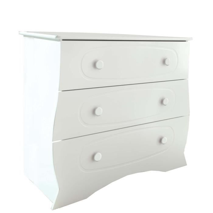commode b b perle boutons blancs blanc achat vente. Black Bedroom Furniture Sets. Home Design Ideas