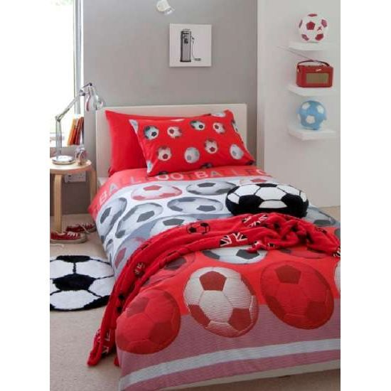 Housse de couette football red 140 x 200 cm achat for Housse couette football