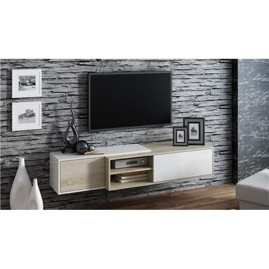meuble tv suspendu ligna bois et blanc achat vente. Black Bedroom Furniture Sets. Home Design Ideas