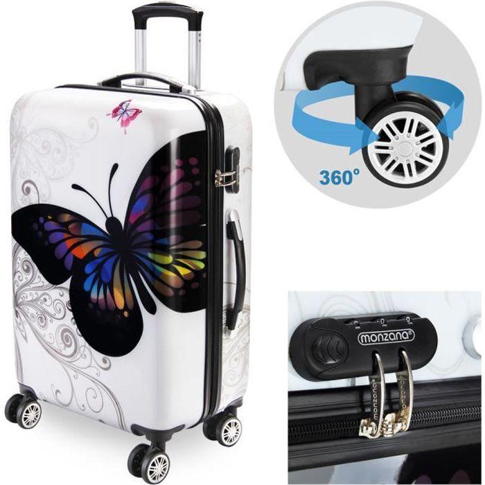QUATRE ROUES valises Coque rigide fleurs imprimé voyage bagage Motif Floral