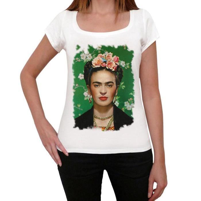 TSHIRT - POLO Frida Kahlo Tshirt, Femme Tshirt Blanc ONE IN THE