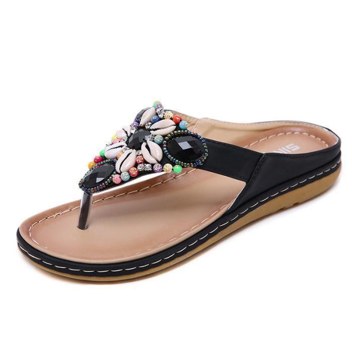 Femme Femme Chaussures Rivets Strass curseurs Sandales Vacances Plage Enfiler Mules