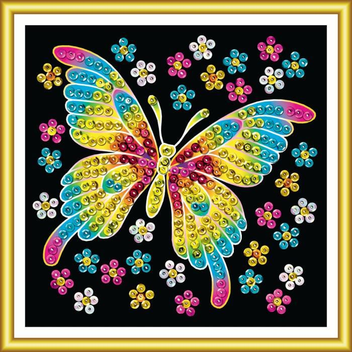 Tableau sequin art papillon d butant sequin art for Tableau en sequin