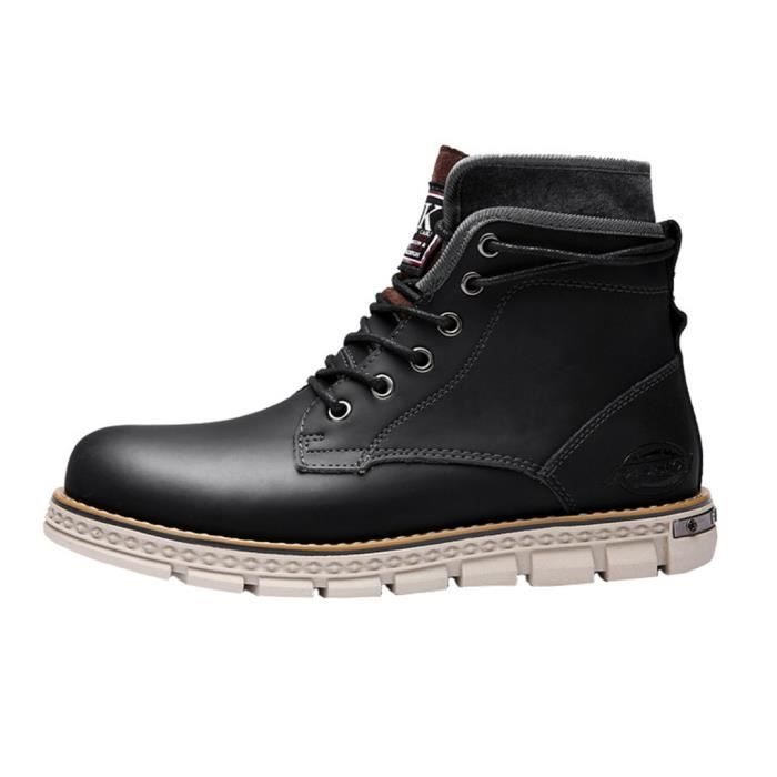 Bottes Martin Homme Cuir Mode Plate A Lacet jY8MM