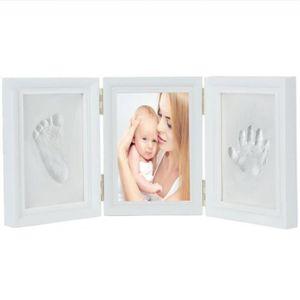 12 mois Cadre photo et conservez les empreintes de mains ou les pieds des enfants et des b/éb/és cadeau parfait pour b/éb/é Bleu Cadre photo avec empreintes de pas pour les b/éb/és mur et table