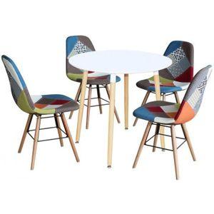 TABLE DE CUISINE  Ensemble table ronde RIMMA + 4 chaise patchwork sc
