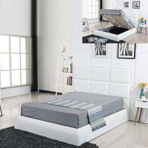 STRUCTURE DE LIT Lit coffre design Alves - Blanc - 180x200