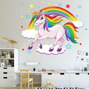 Mural Arc-en-ciel cheval 60 x 60 cm sticker autocollant