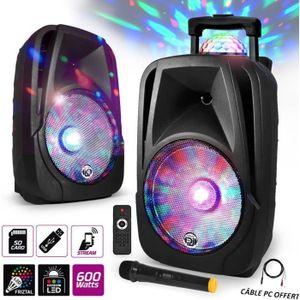 ENCEINTE ET RETOUR Enceinte mobile Sono DJ PA Karaoké 600W 12