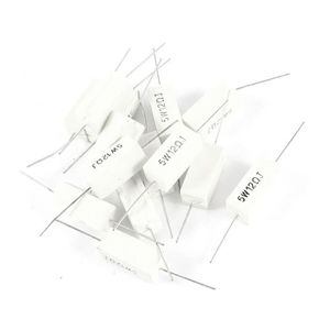Rectangle Axial Cement Lead Resistor 0,47 Ohm 5W 15 Pcs Blanc