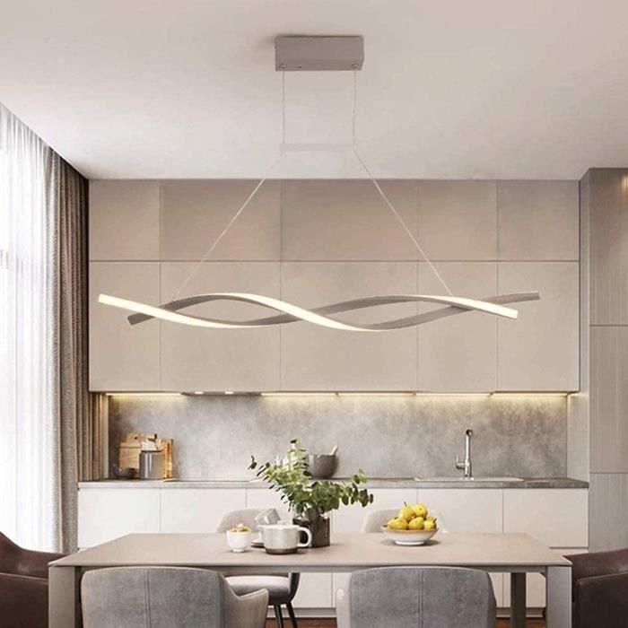 Spirale Design Lustre pour Dimmable LED Suspension avec télécommande Pendentif lumière Cuisine île Bar Salle à Manger Salon Loft,Gri