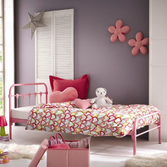 grany lit enfant 90x190cm m tal rose achat vente. Black Bedroom Furniture Sets. Home Design Ideas