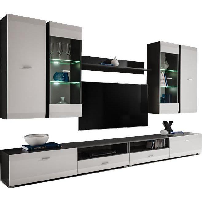 Extreme Furniture Meuble TV Mural Clif White - LED blanches - Gris & Blanc Mat - Façades en Mat - L280cm x H195cm x P46cm