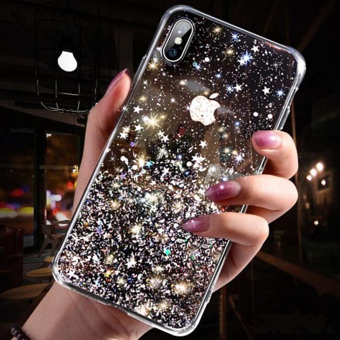 Coque, iPhone X, Magnifique Noir Mode paillettes étui iPhone Max Silicone Bling cristal paillettes couverture iPhone Max téléphone