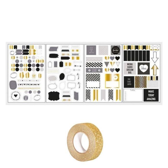 147 stickers bulles & flèches Bullet journal noir-gris-doré + masking tape doré à paillettes 5 m