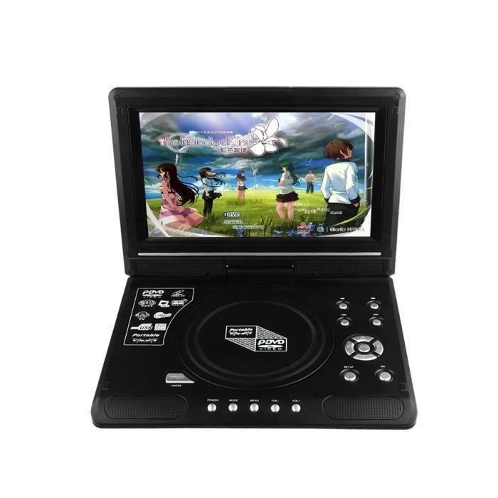 9.8 LCD Afficher Lecteur de DVD Lecteur de téléviseur portable 270 Ecran rotatif Avec lecteur de carte USB-SD