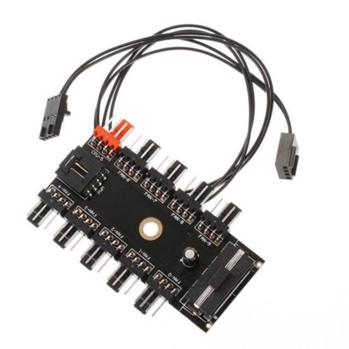 Répartiteur de prise alimentation 4/3 broches pour hub de contrôleur de vitesse de ventilateur de refroidissement Cpu/Pwm 10 voies