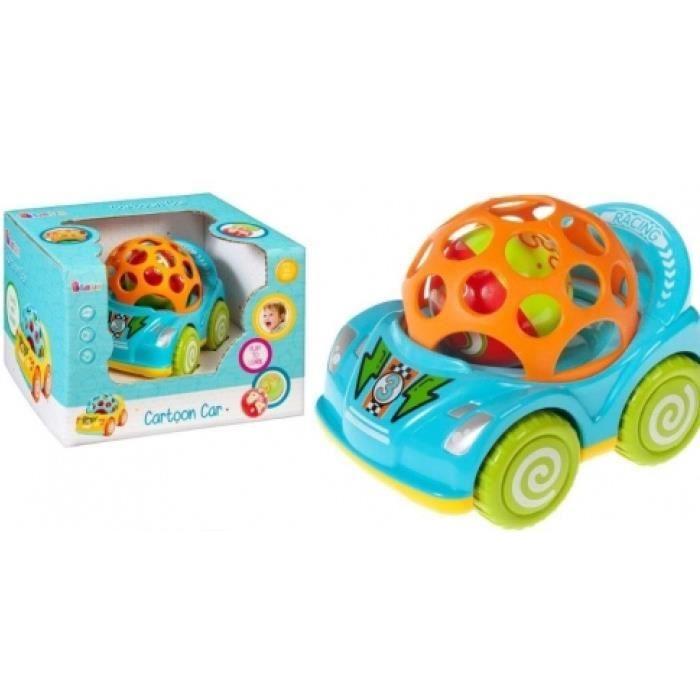 Voiture pour bébé - CARTOON CAR - en caoutchouc et plastique avec les roues rempli de petites billes de la marque - BAM BAM -.