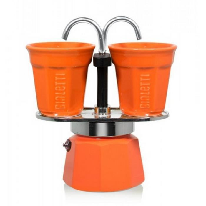 Bialetti - cafetière italienne + 2 tasses bicchierini orange - 0006191