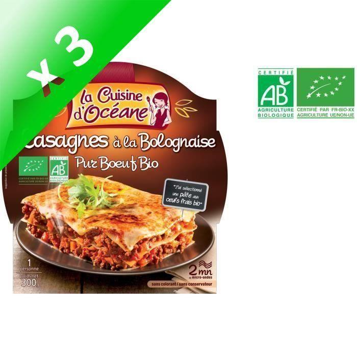 [LOT DE 3] Lasagnes à la bolognaise bio 300g La Cuisine D'Océane